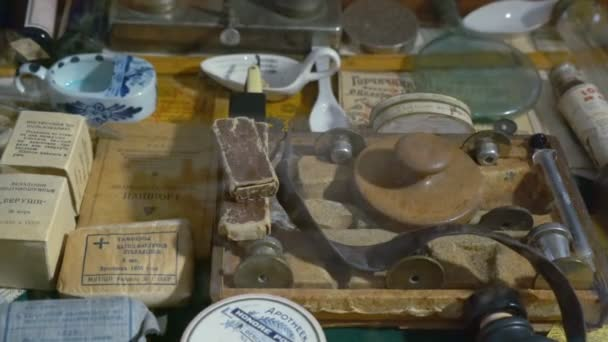 Collection of Old Medical Devices, Instruments and Drugs. the Old Pharmacy.