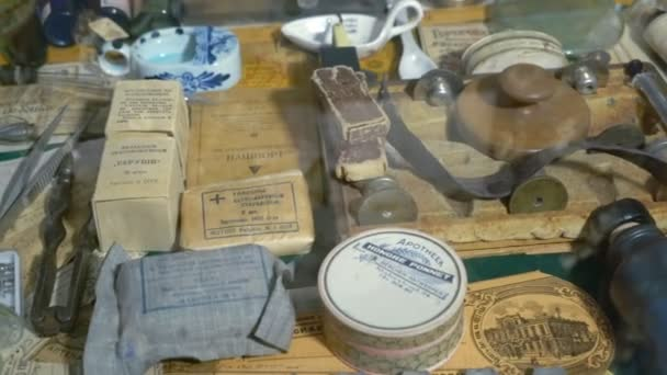 Collection of Old Packages and Packages With Lekorstvami. Ancient Ways to Store Medicines. Older Pills Powders and Drops
