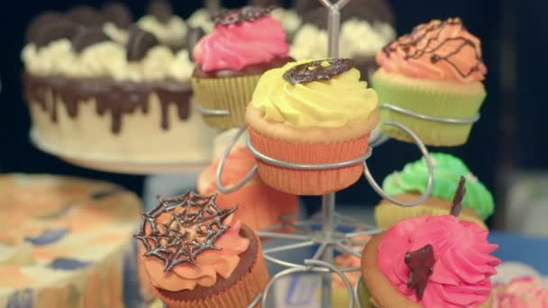Sweet Cakes and Delicious Pastries, Chocolate Balls and Colored Sweets. the Camera Flies Around the Table With the Cooking