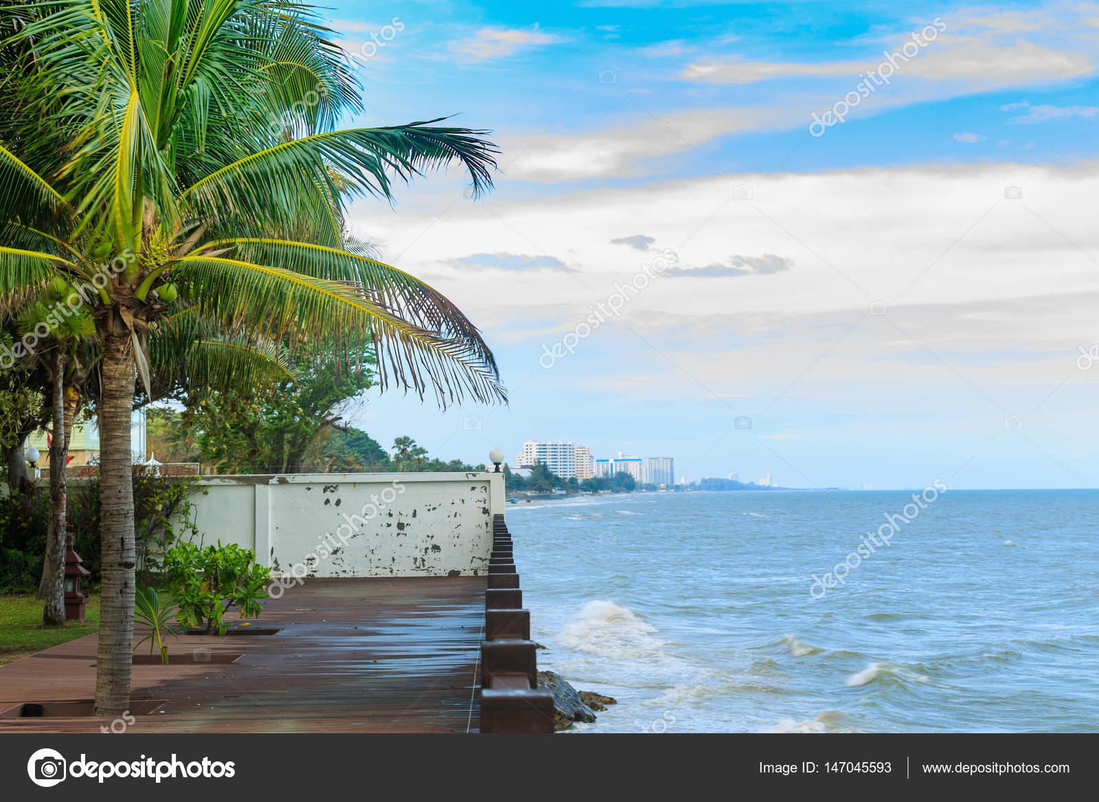 Terraza De Madera En La Playa Mirando El Mar Espumoso Ondas