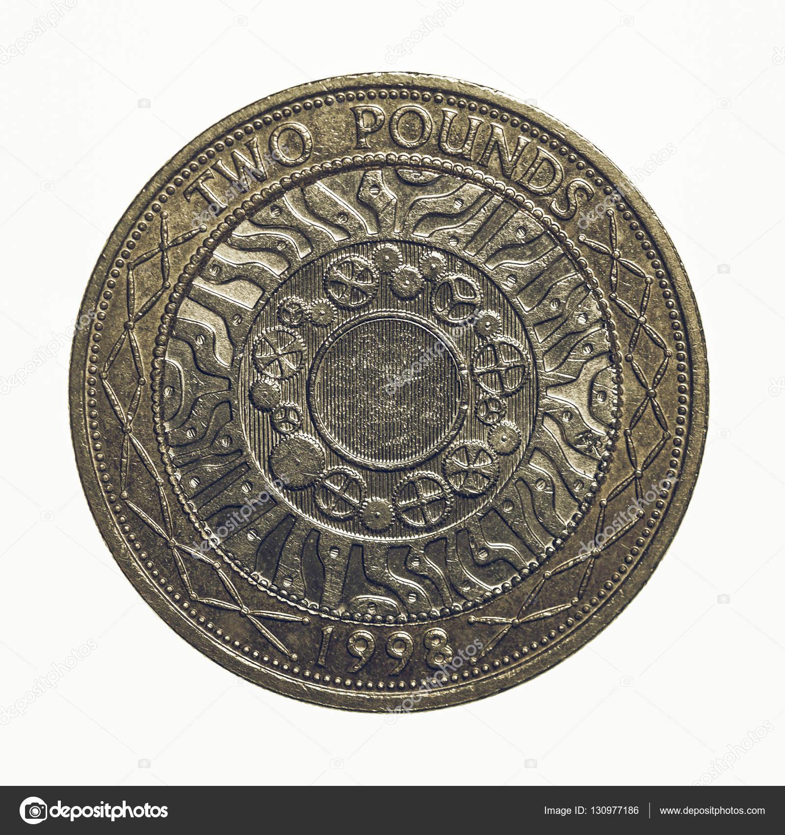 Vintage Zwei Pfund Münze Stockfoto Claudiodivizia 130977186