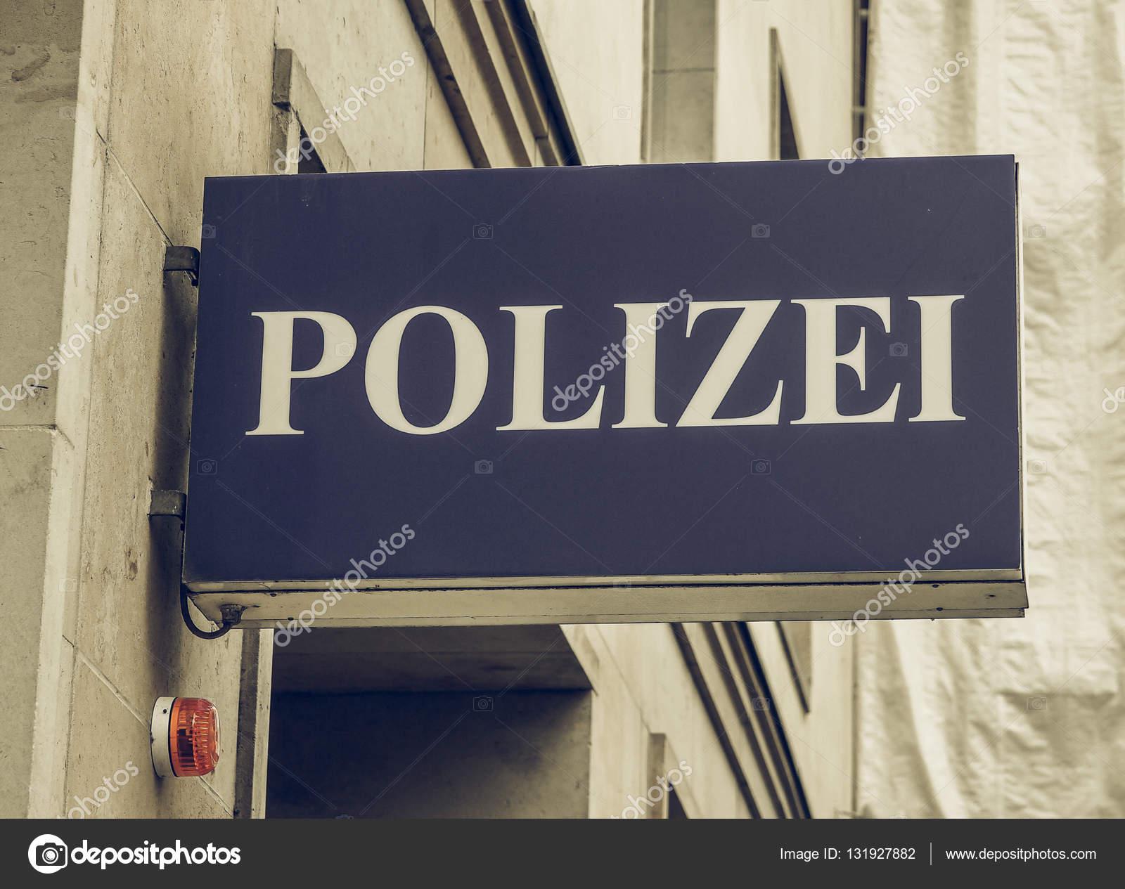 Vintage Polizai Polizei Zeichen Suchen Stockfoto Claudiodivizia
