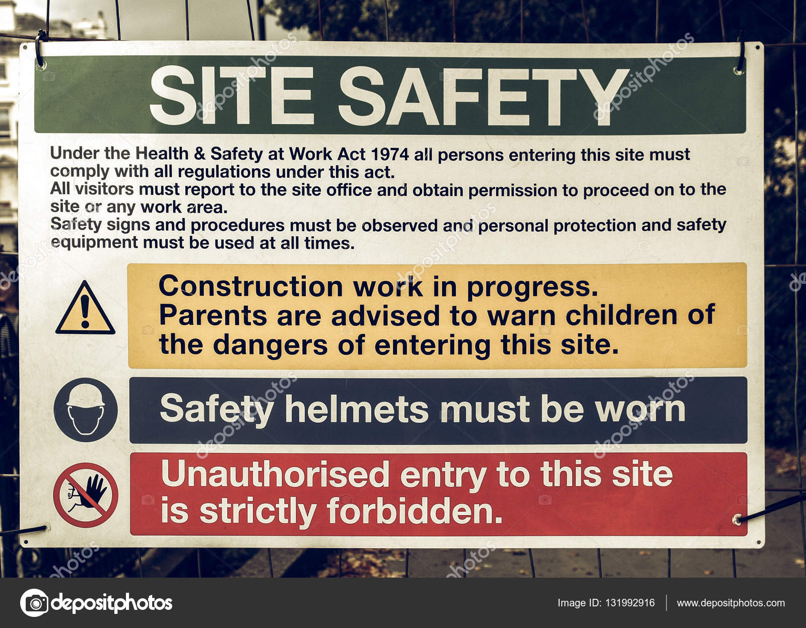 Vintage Looking Site Safety Sign Stock Photo Claudiodivizia