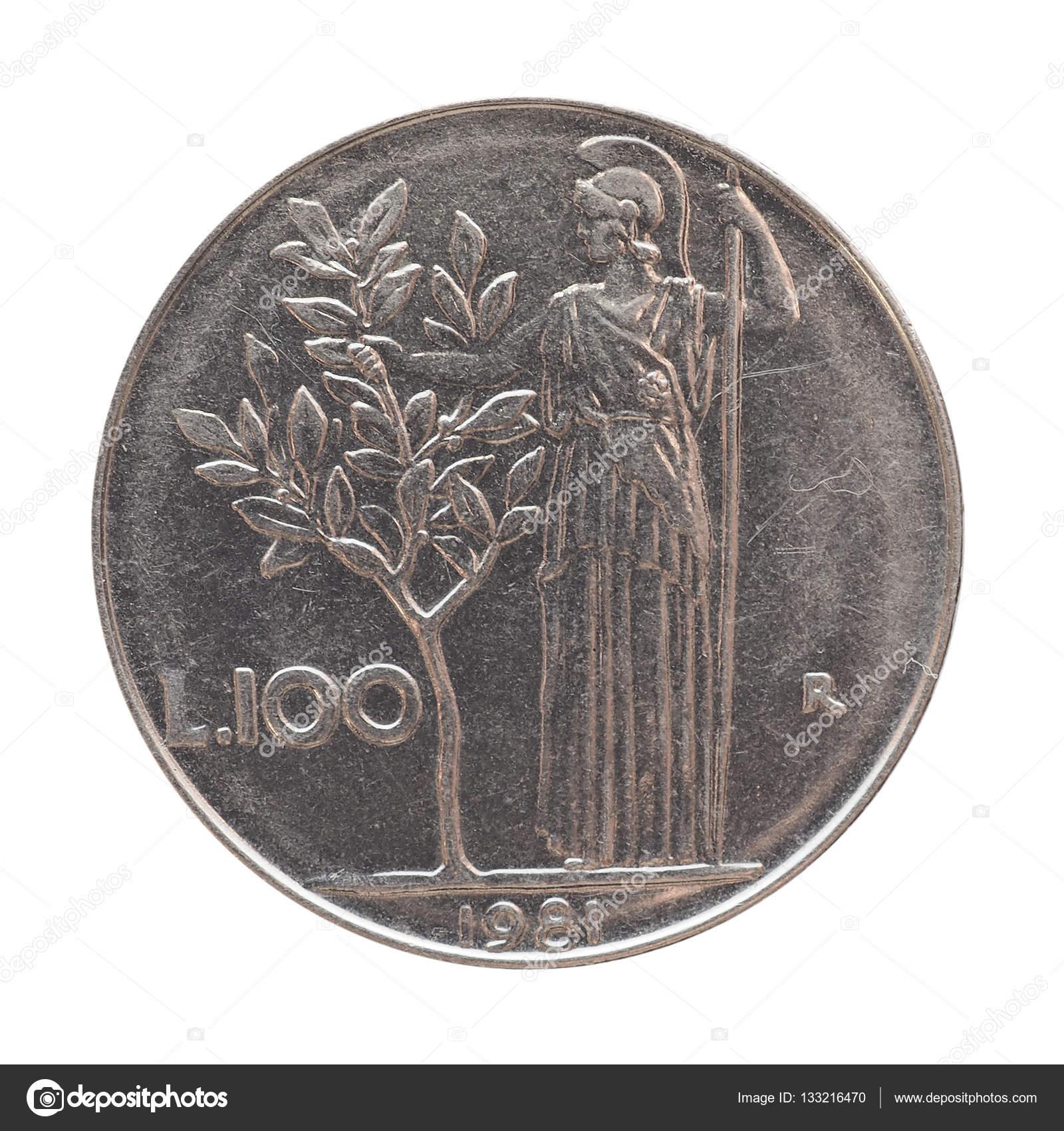 Italienische Lira Münze Isoliert Auf Weiß Stockfoto