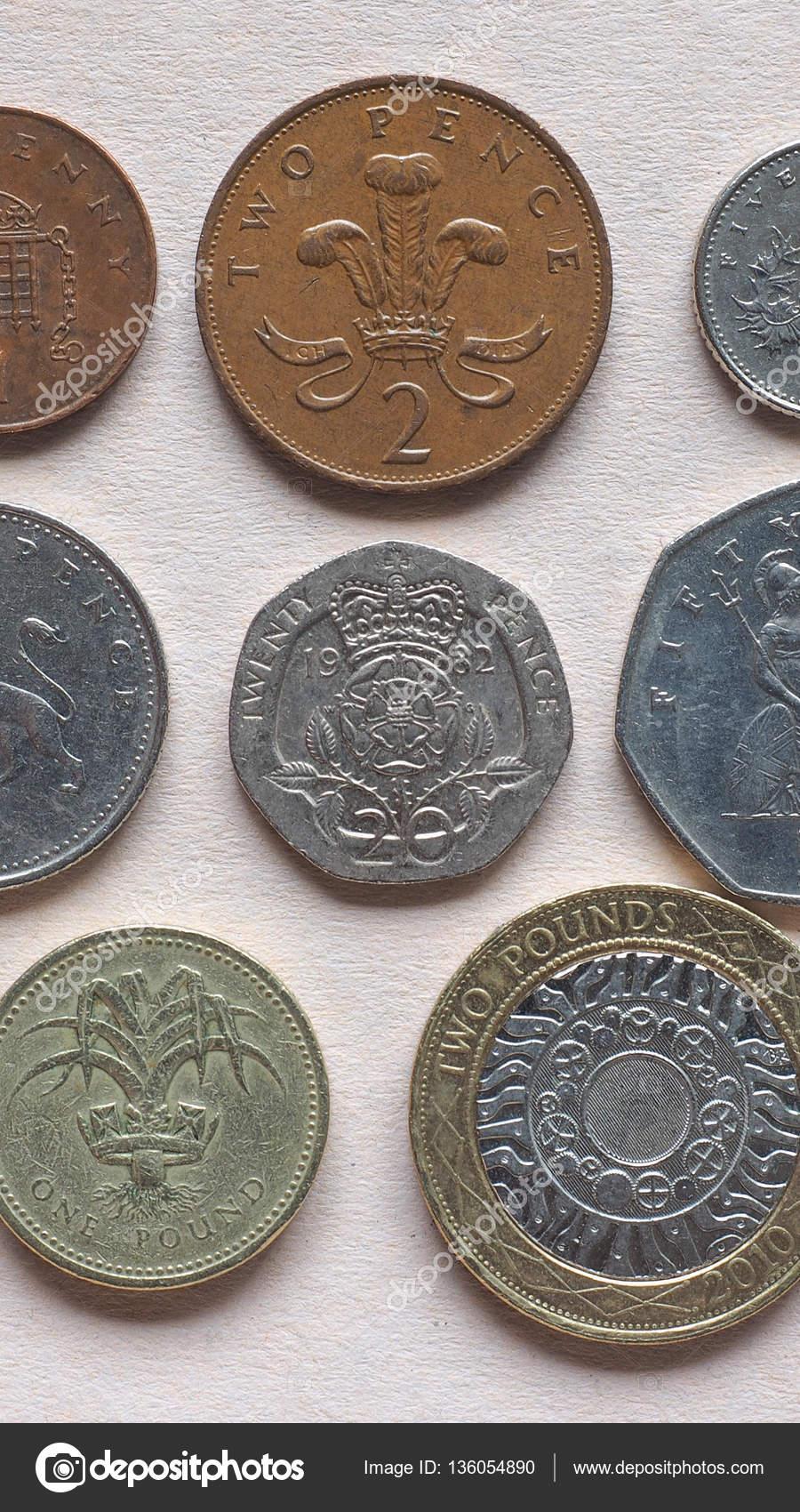 Gbp Pound Münzen Vertikal Stockfoto Claudiodivizia 136054890