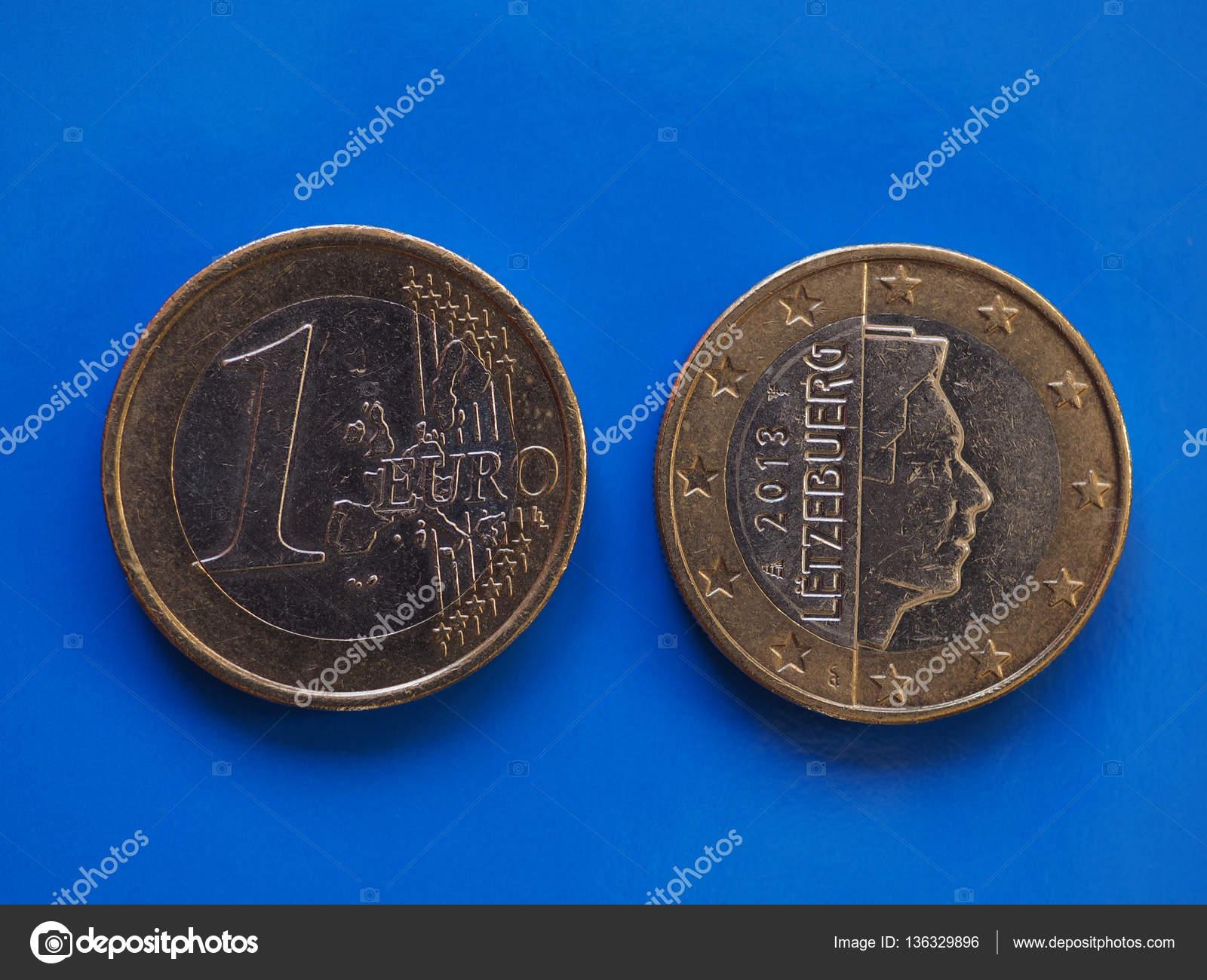 1 Euro Münze Europäische Union Luxemburg Auf Blau Stockfoto