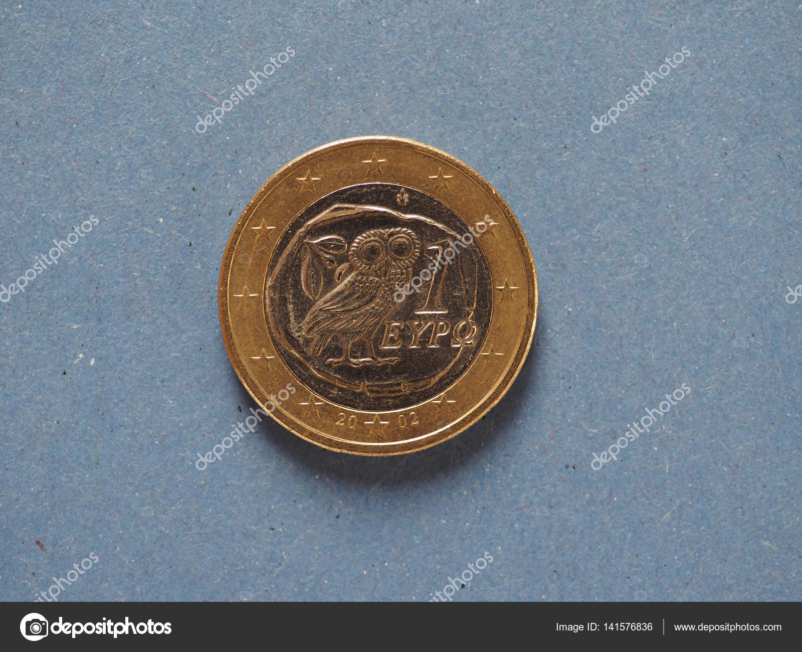 1 Euro Münze Europäische Union Griechenland über Blau Stockfoto