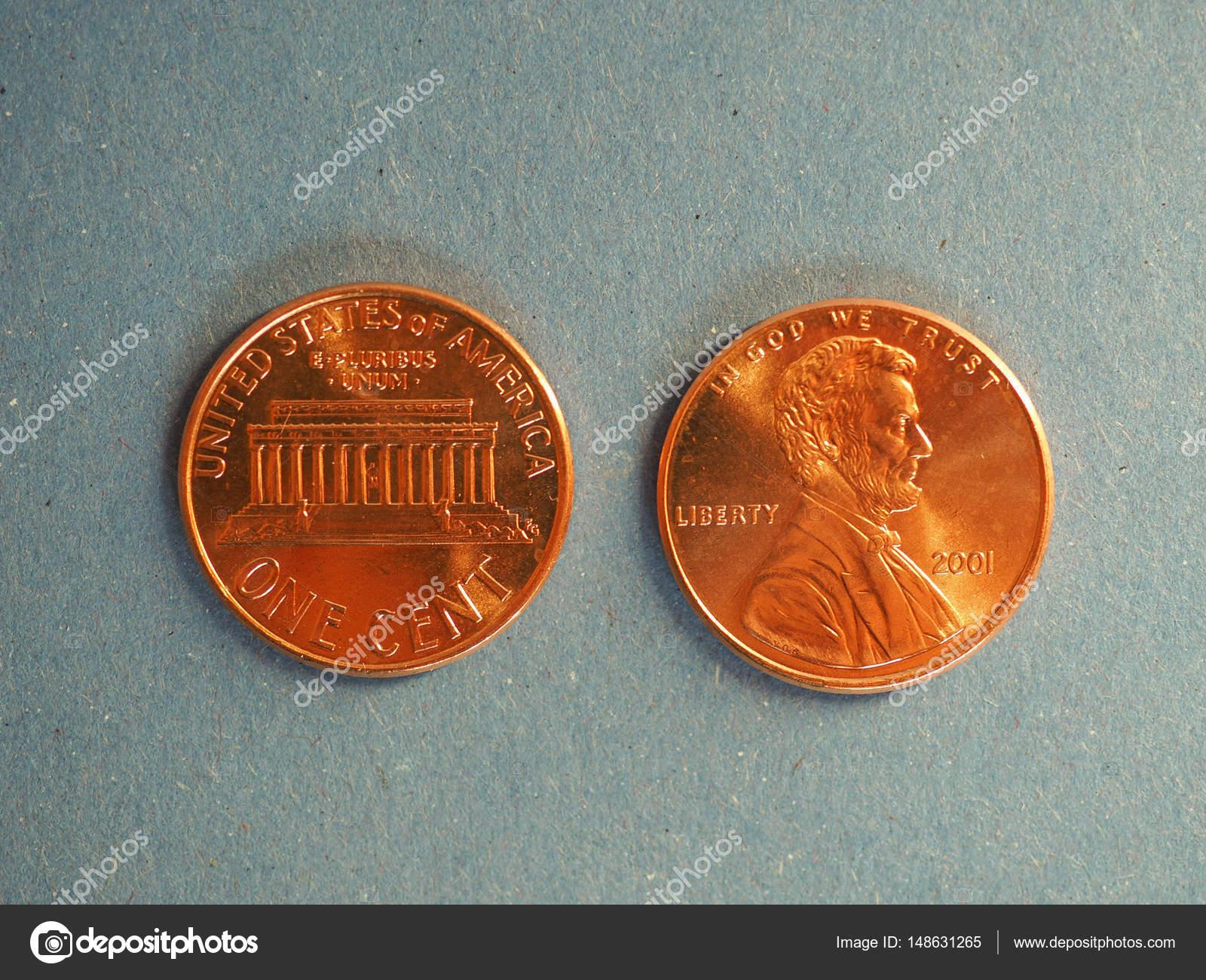 Ein Cent Dollar Münzen Usa über Blau Stockfoto Claudiodivizia