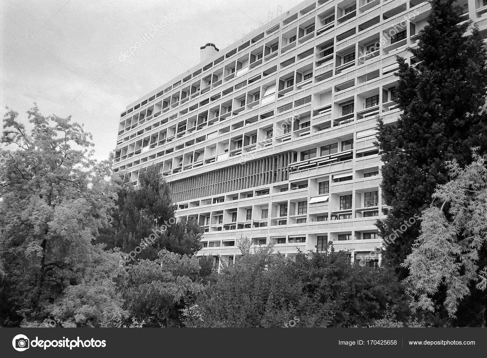 Unite d habitation in marseille black and white stock photo