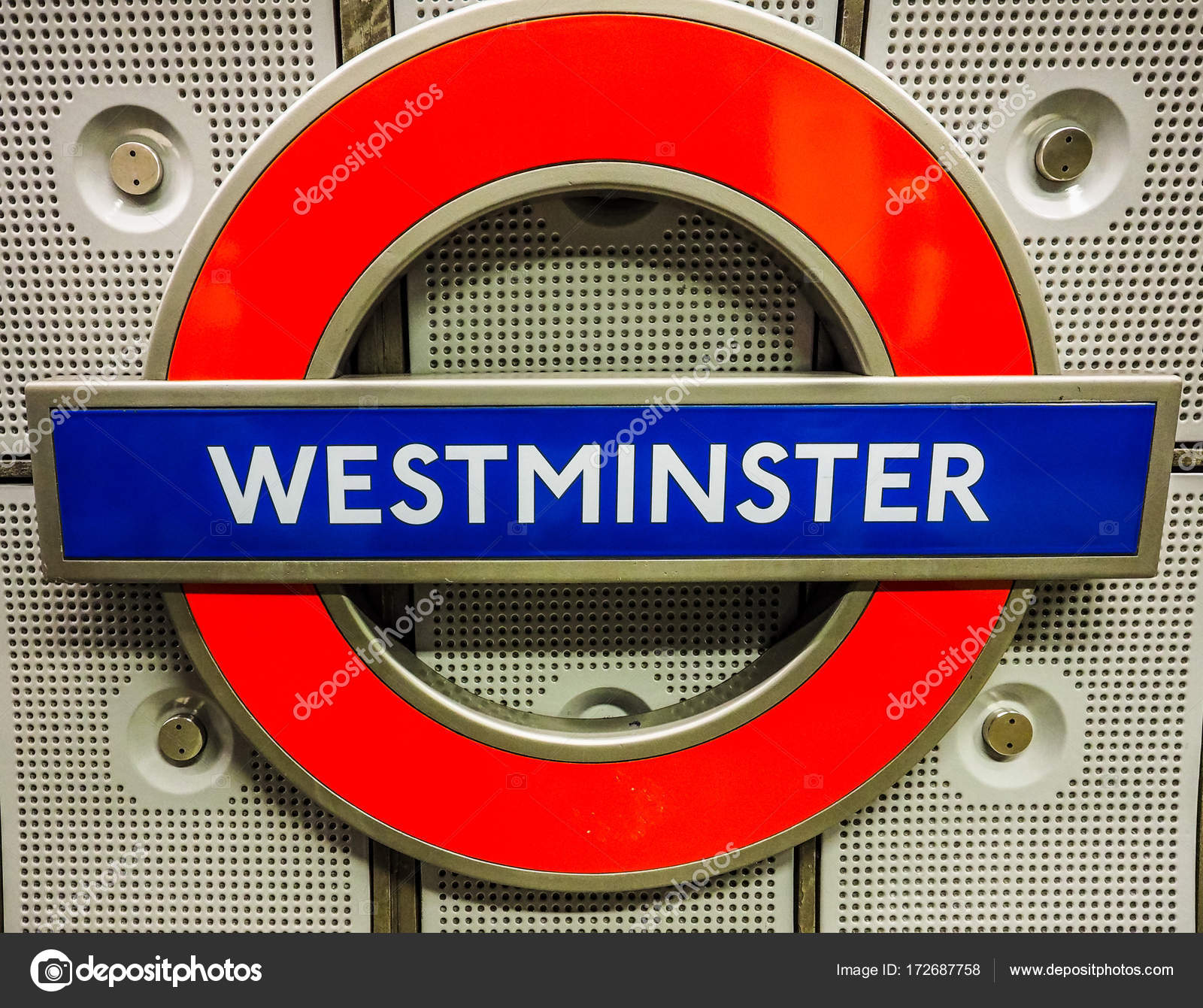 Westminster Tube Station Roundel In London Hdr Stock Editorial