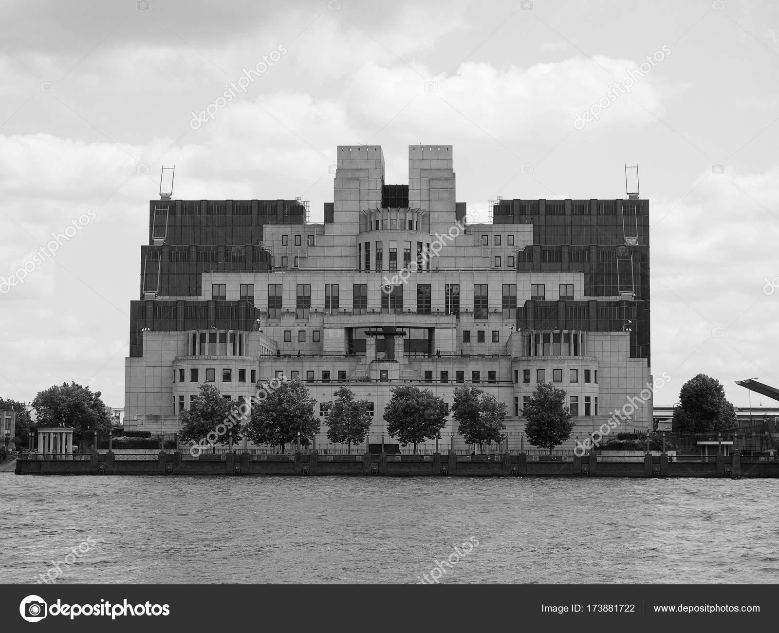 Google Hoofdkwartier Londen : Britse geheime dienst in londen zwart wit u2013 redactionele stockfoto