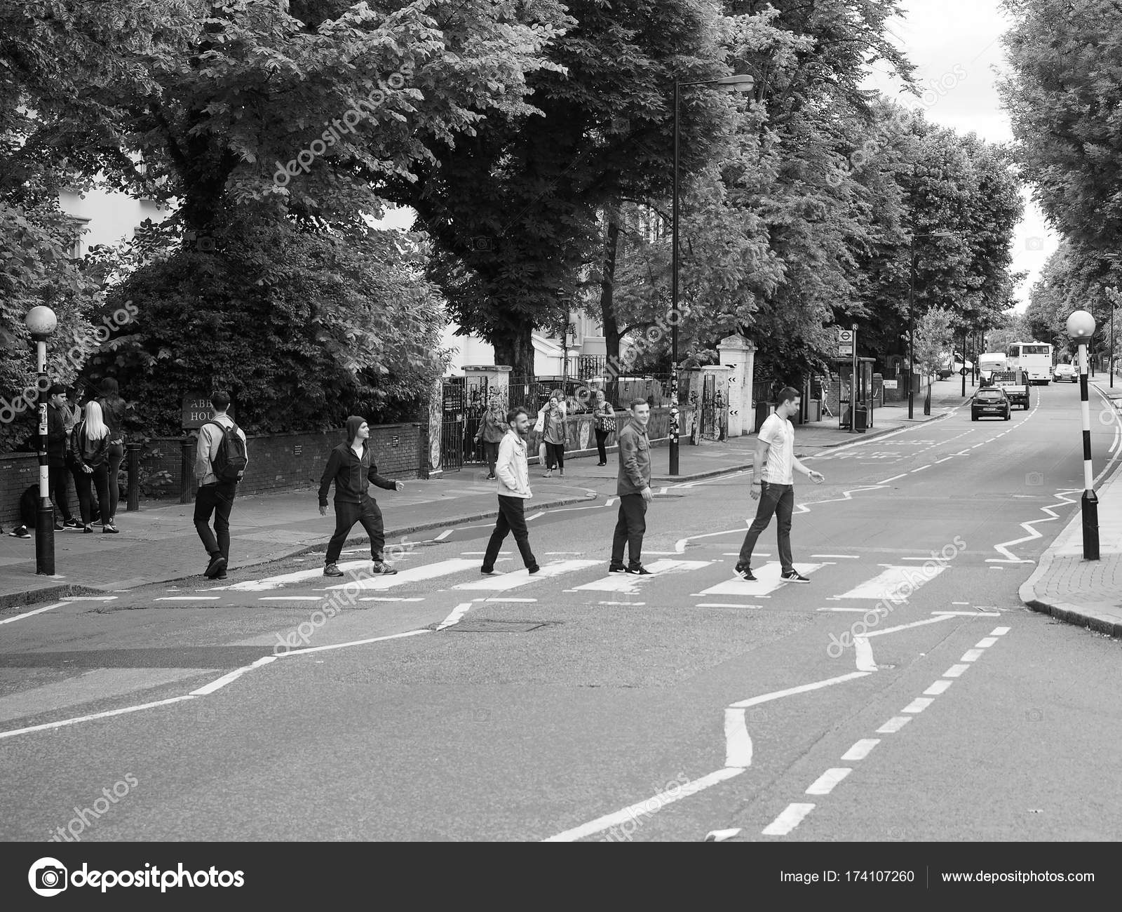 Abbey Road Crossing In London Black And White Stock Editorial