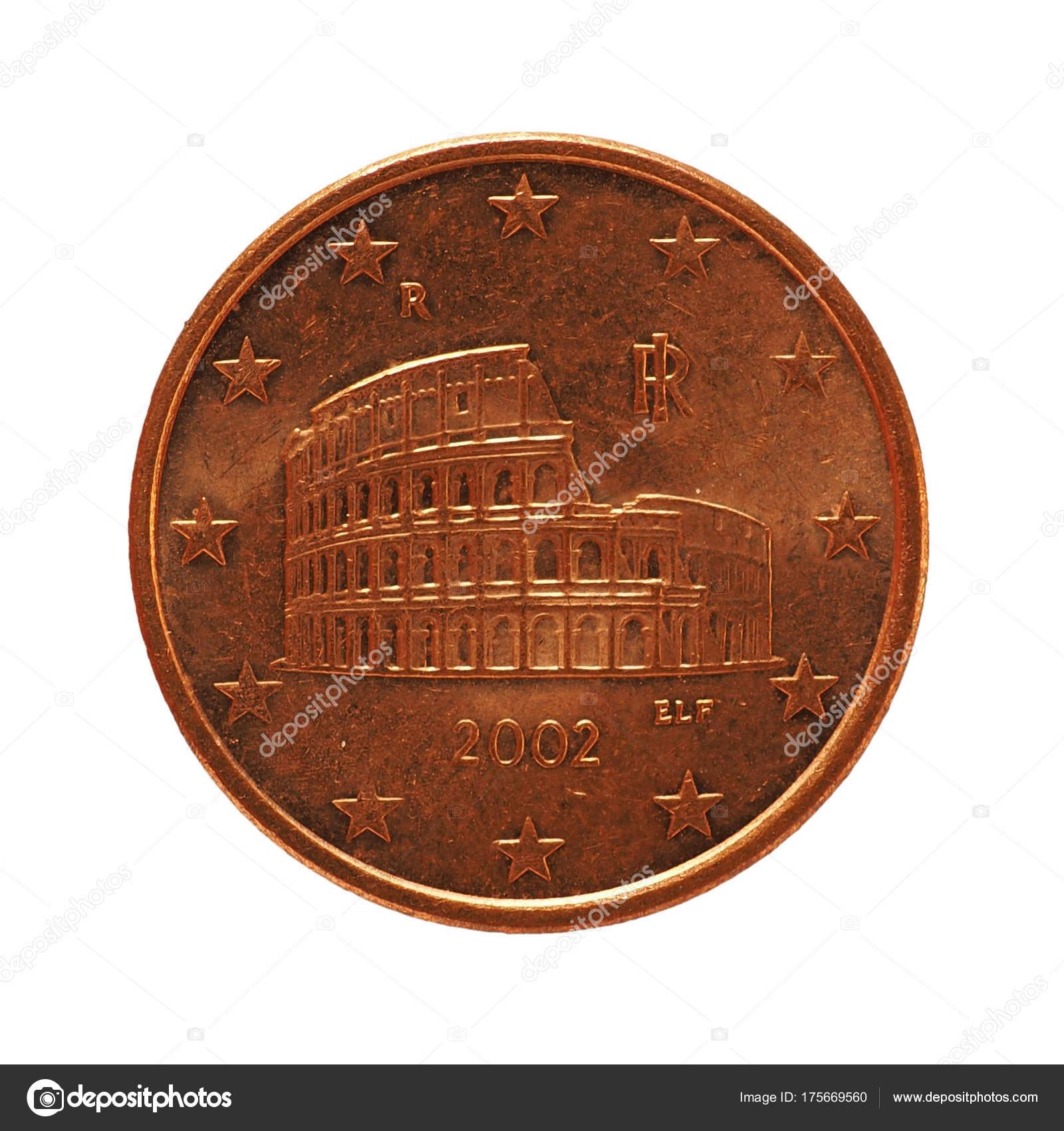 5 Cent Münze Isoliert Die Europäische Union über Weiß Stockfoto