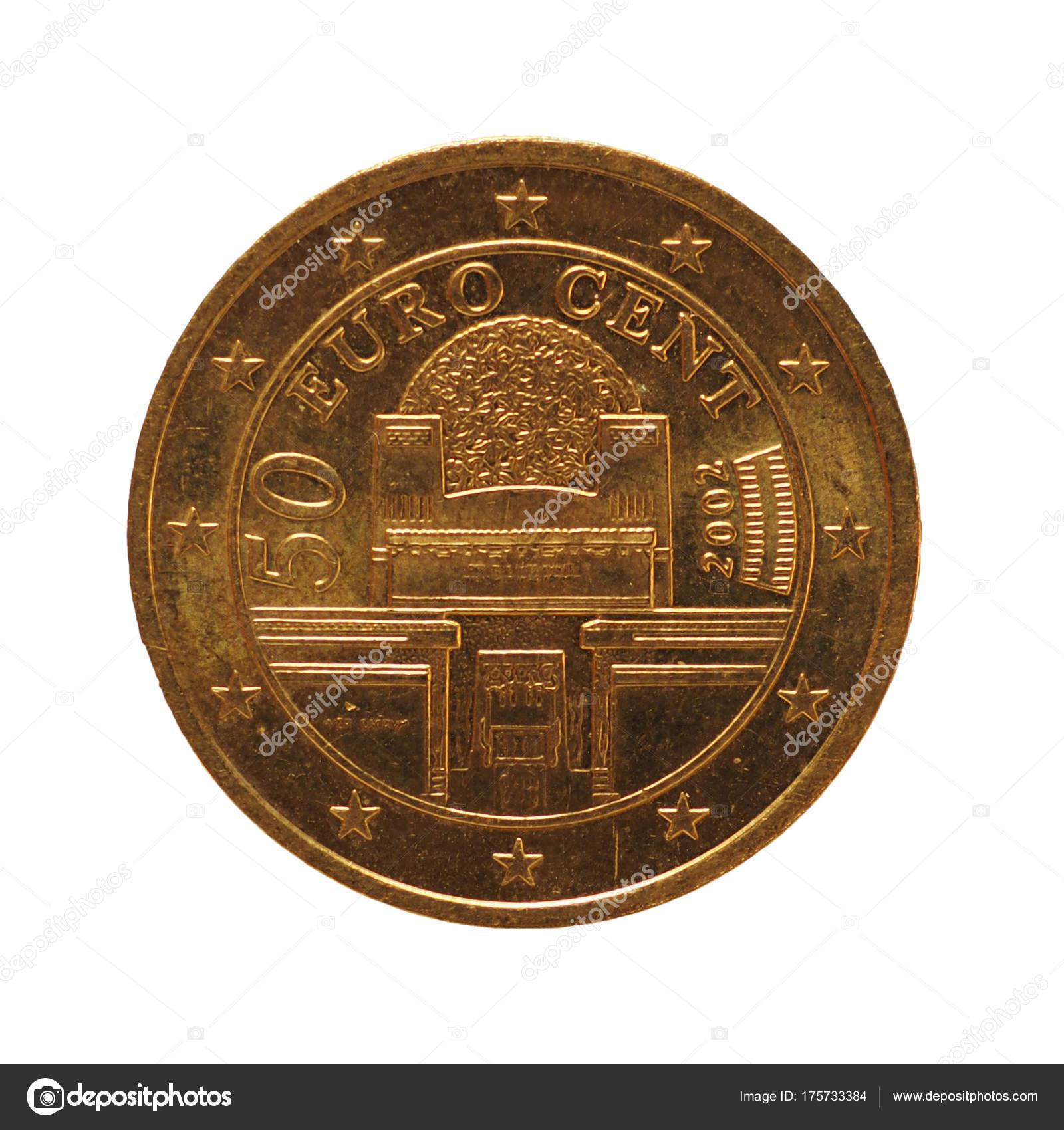 50 Cent Münze Isoliert über Weiße Europäische Union österreich