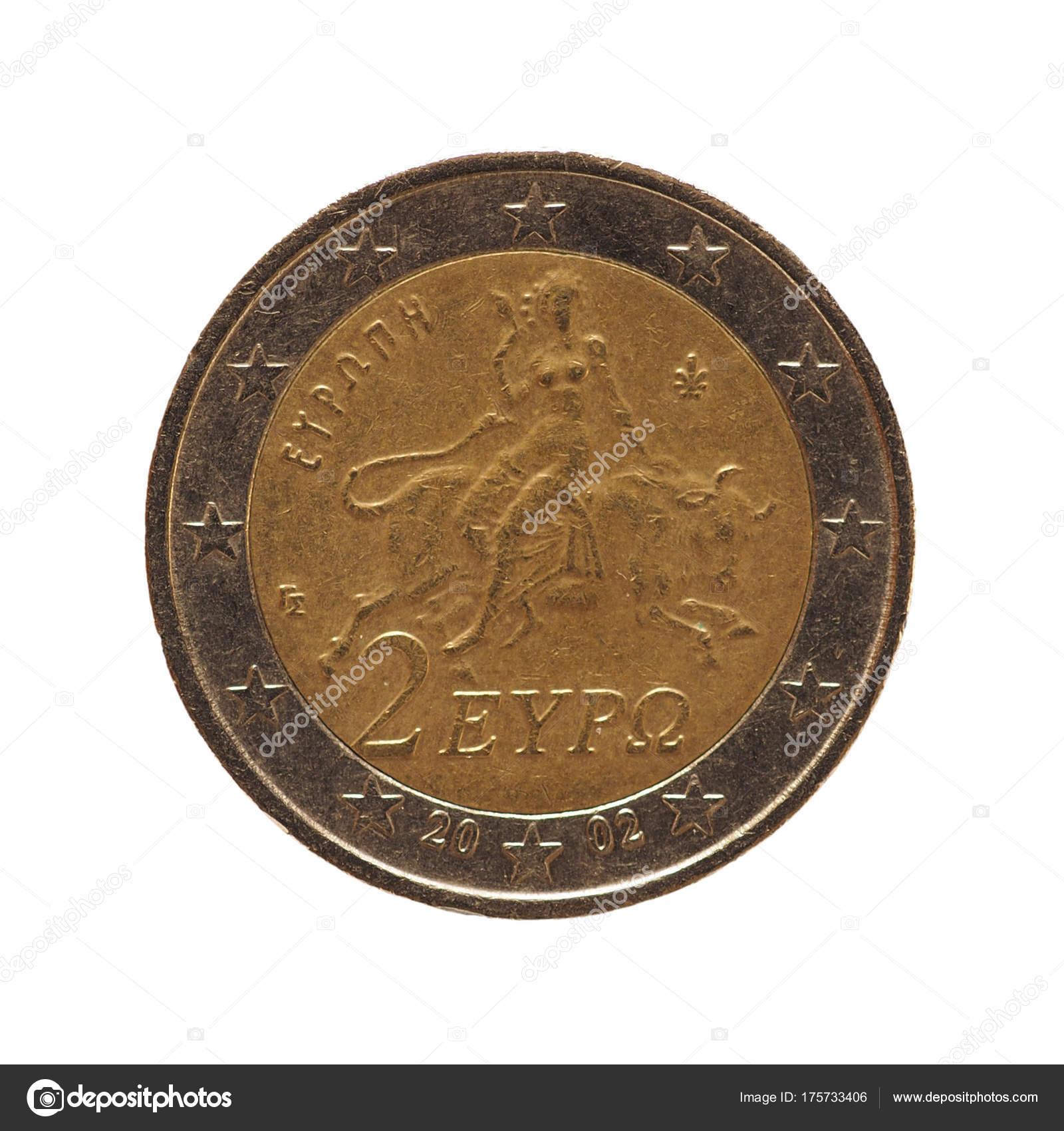 2 Euro Münze Europäische Union Isoliert Auf Weiß Stockfoto