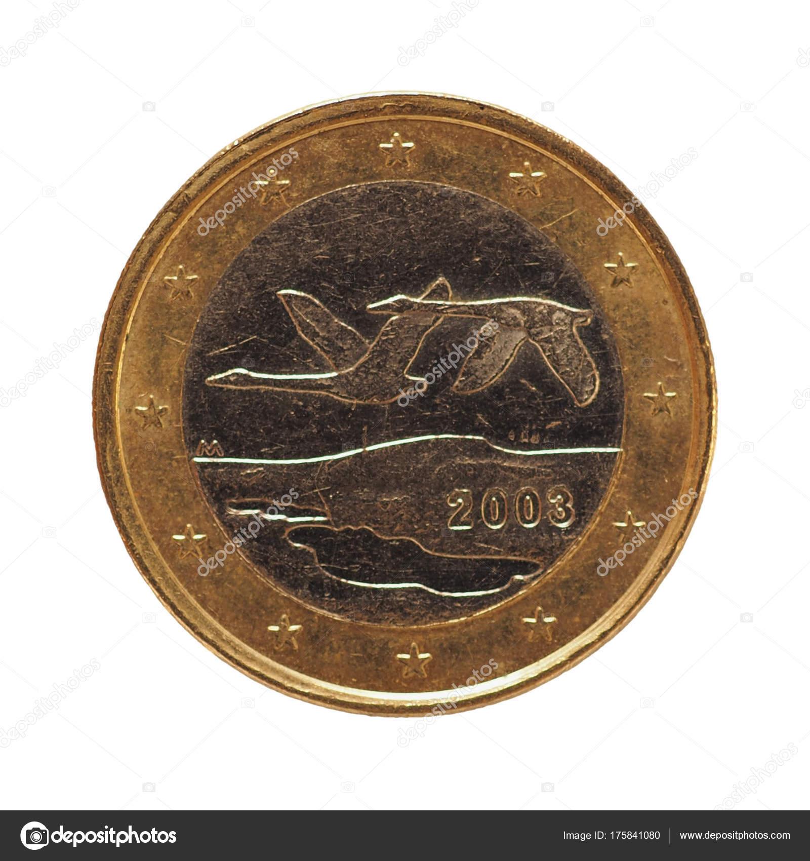 1 Euro Münze Europäische Union Finnland Isoliert Auf Weiß