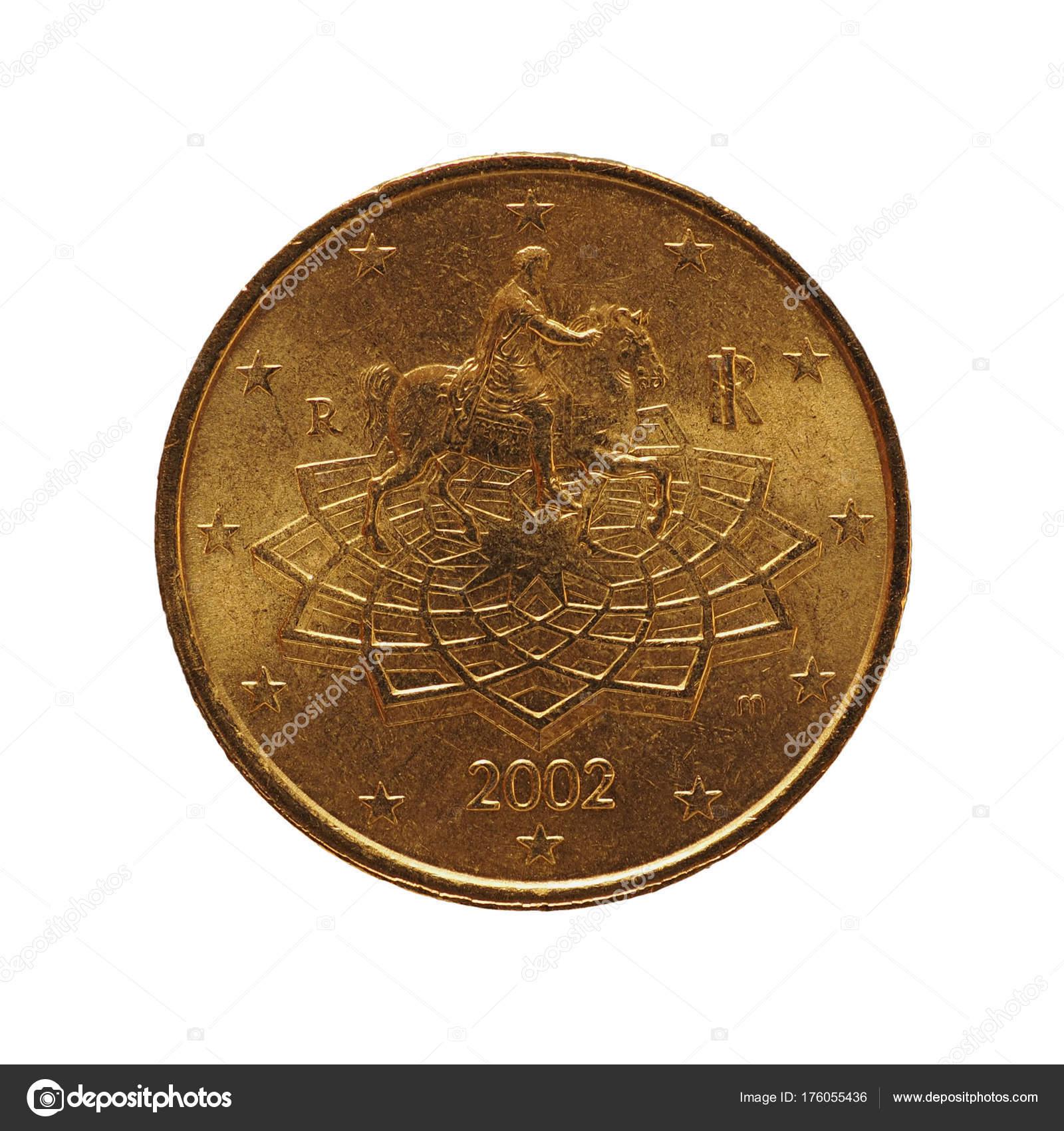50 Cent Münze Europäische Union Italien über Weißen Isoliert