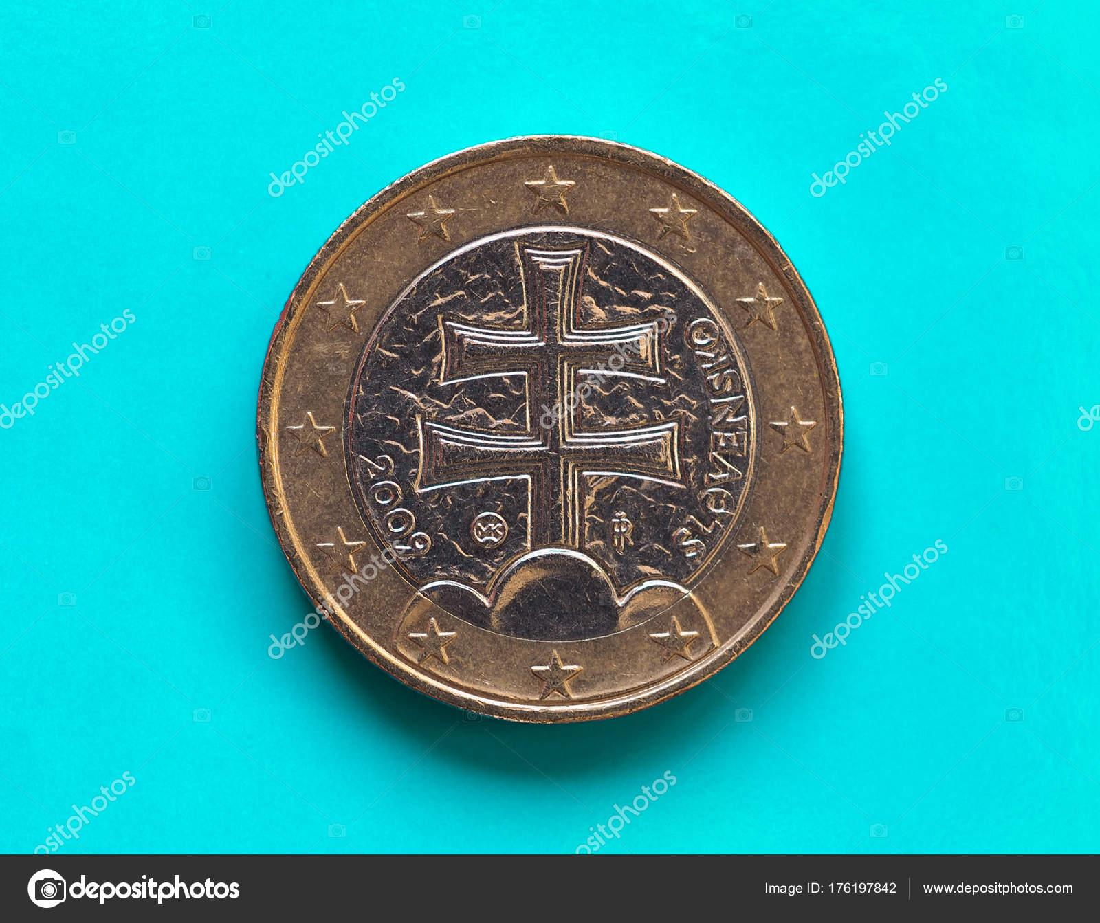 1 Euro Münze Europäische Union Slowakei über Grün Blau