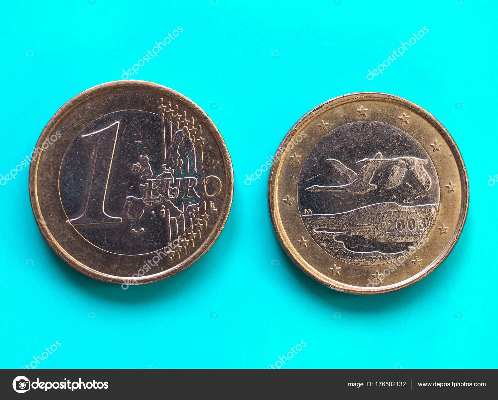 1 Euro Münze Europäische Union Finnland über Grün Blau