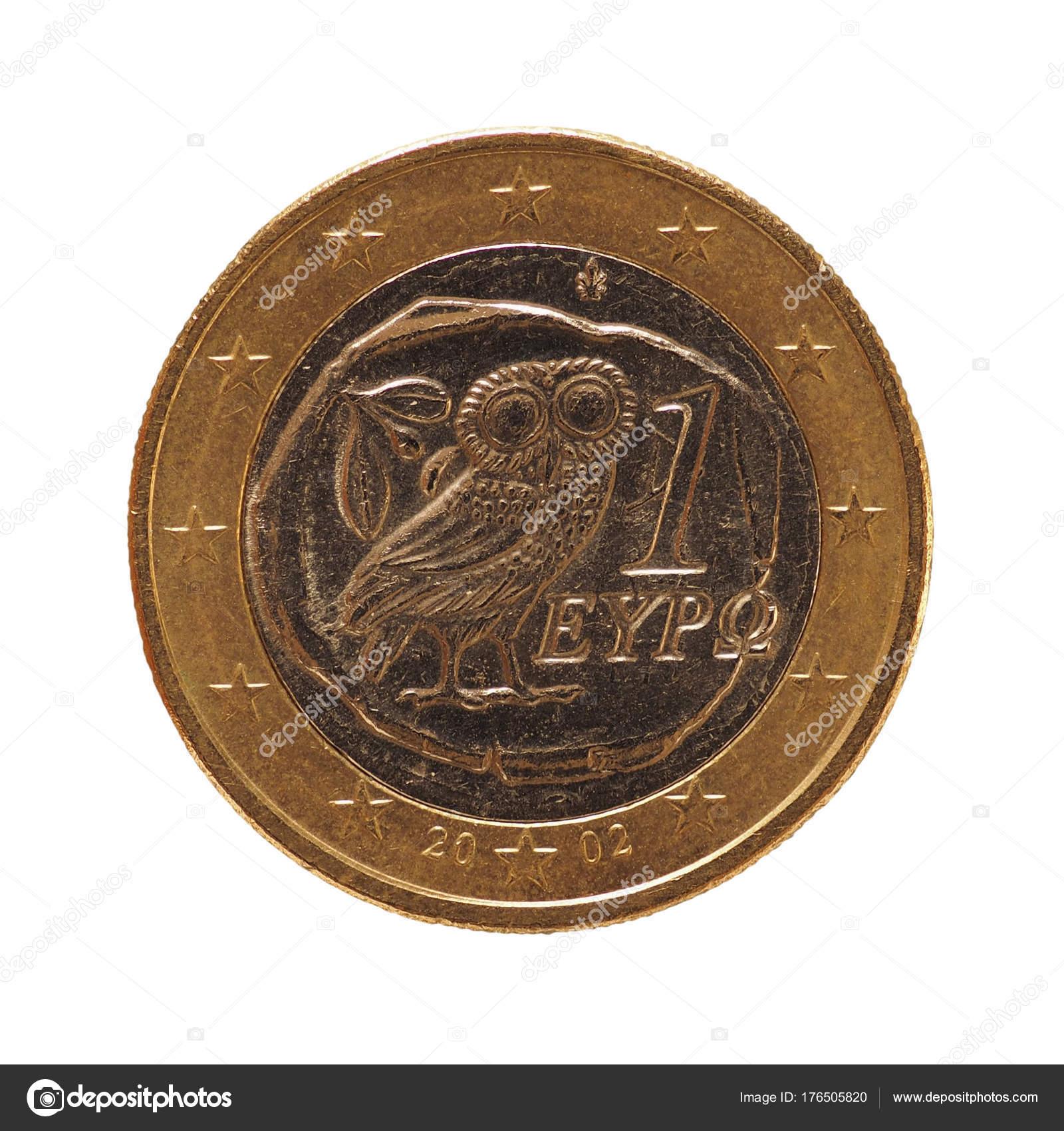 1 Euro Münze Europäische Union Griechenland Isoliert Auf Weiß