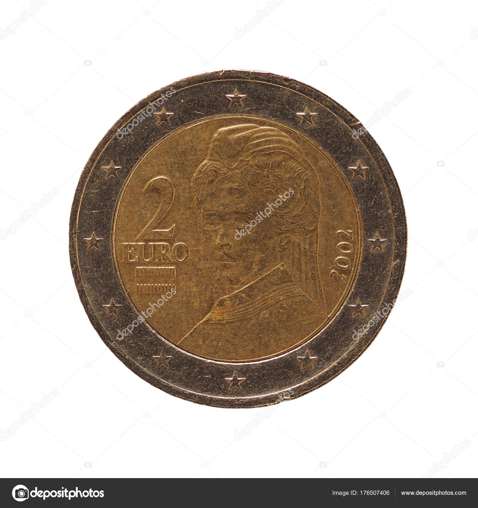 2 Euromynten Europeiska Unionen österrike Isolerade över Vita