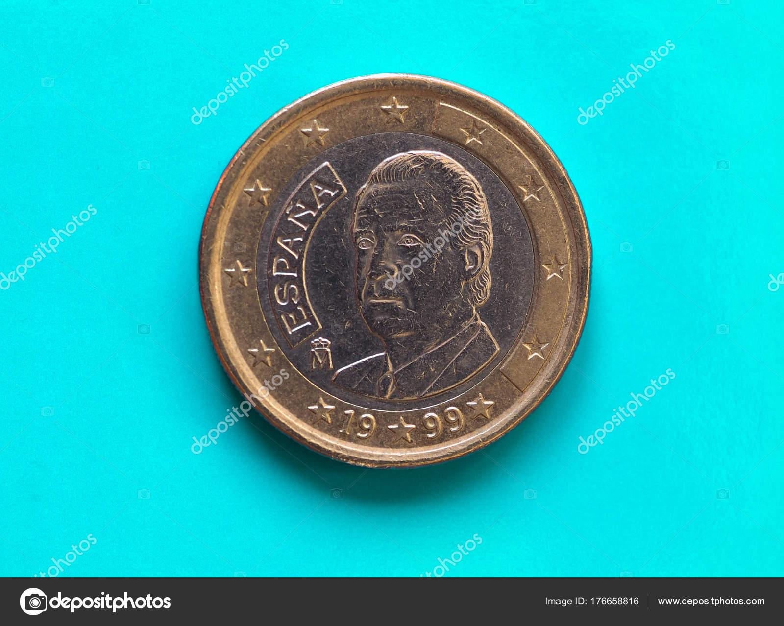 1 Euro Münze Europäische Union Spanien über Grün Blau Stockfoto