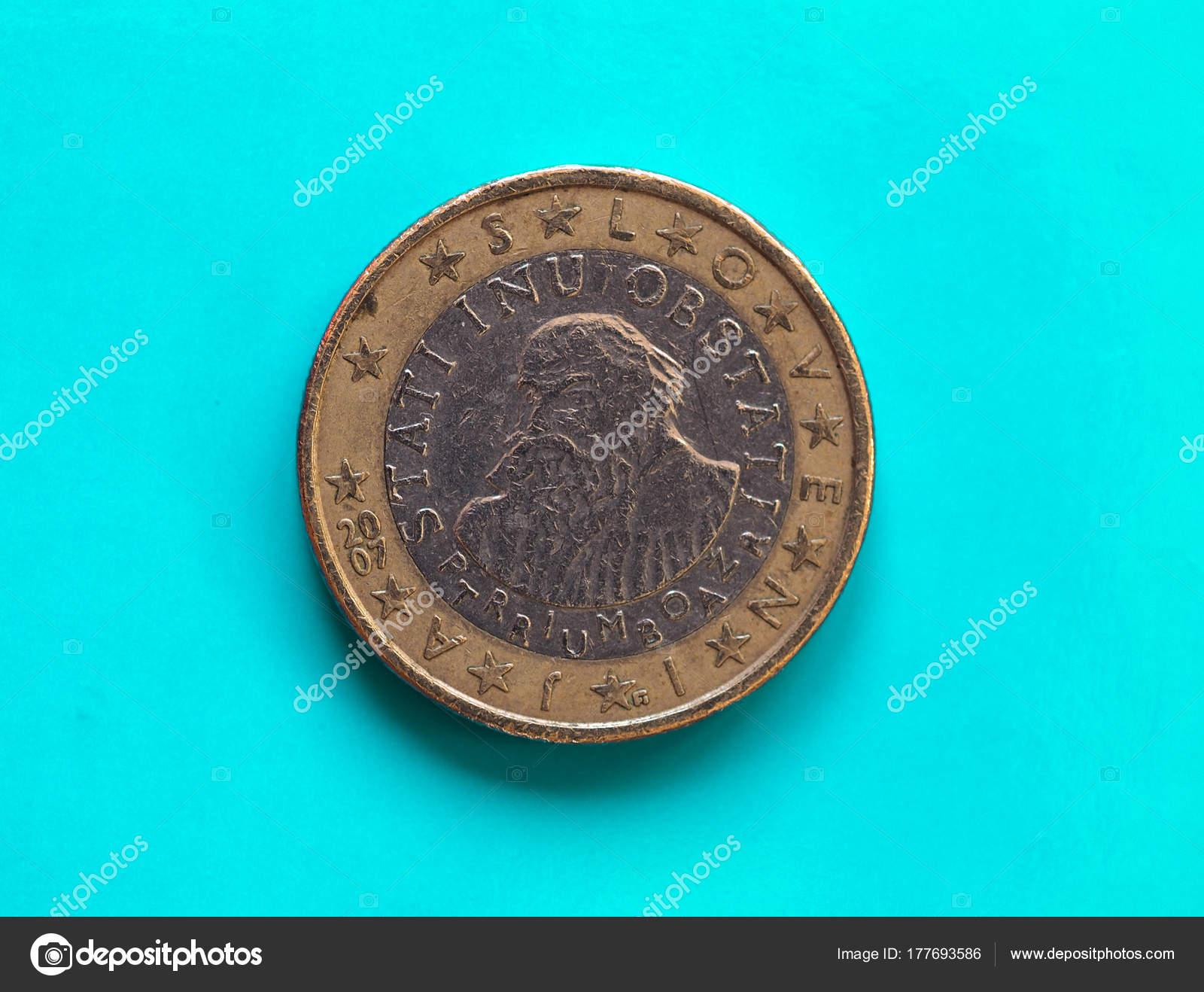 1 Euro Münze Europäische Union Slowenien über Grün Blau