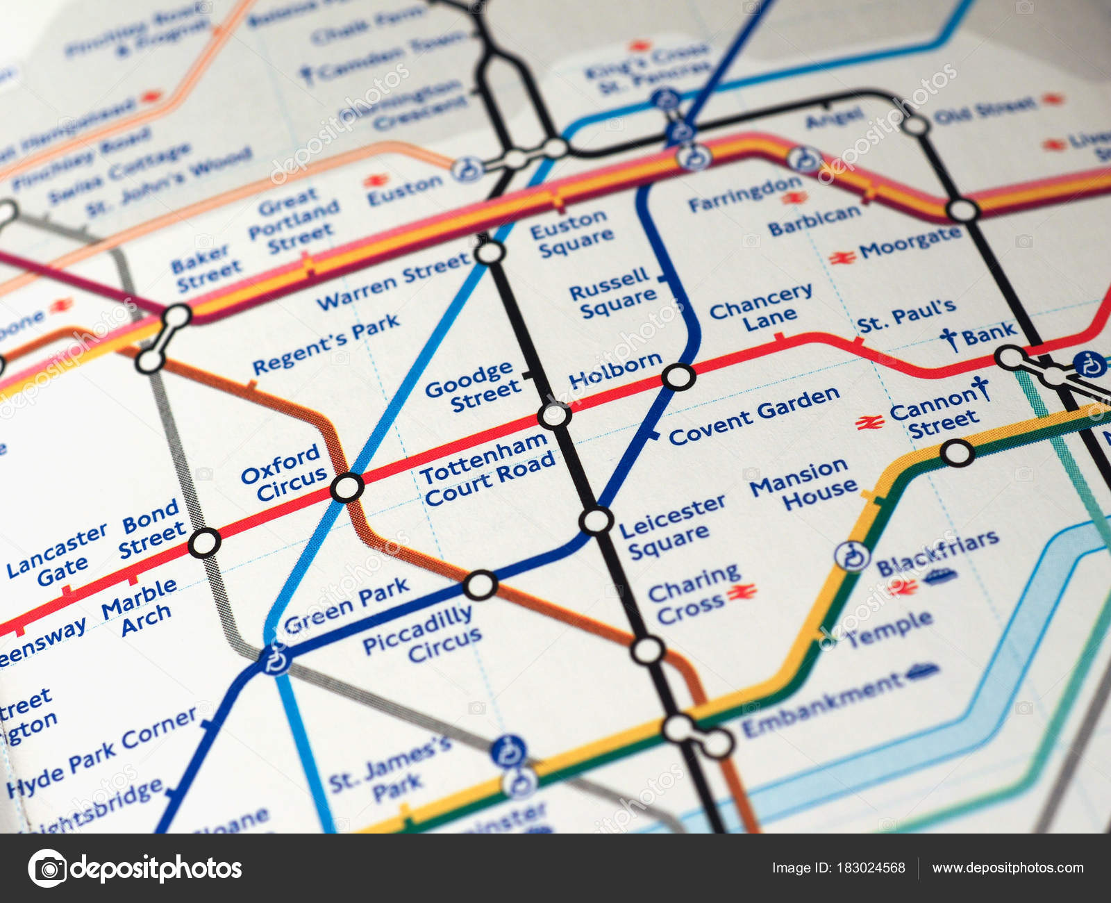 Street Map Of London With Tube Stations.Map Of London Underground Stock Editorial Photo C Claudiodivizia