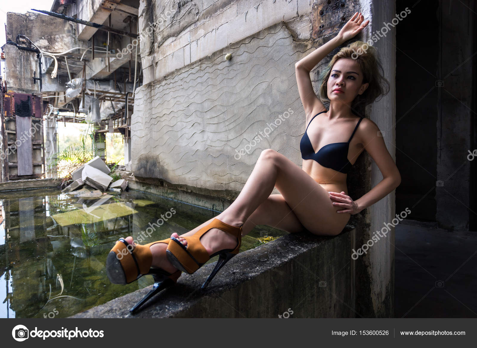 Model Posing In Abandoned Building Stock Photo C Dima266f 153600526