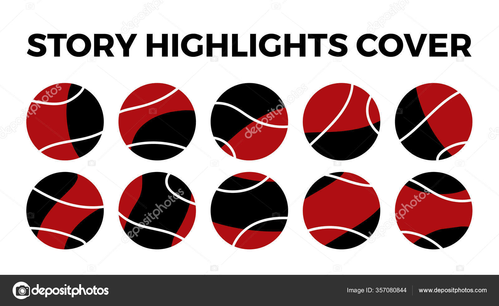 Instagram Highlights Stories Covers Icons Set Highlights Red Black Covers Stock Vector C Winst2014 357080844