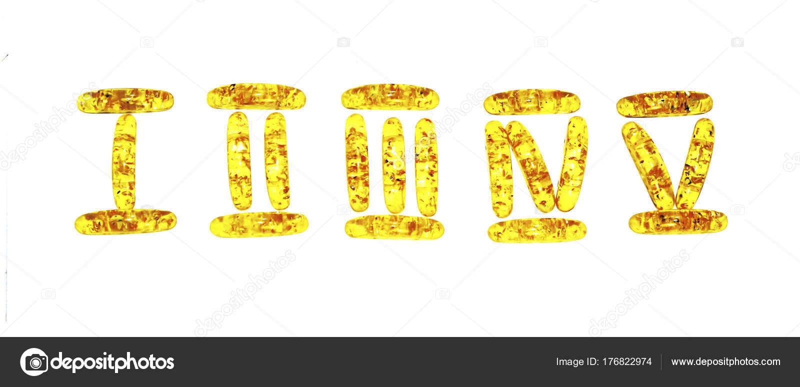 Romerska siffror fodrad med identiska bärnstensfärgade stenar på en vit  baksida — Stockfoto e79b0a22a2
