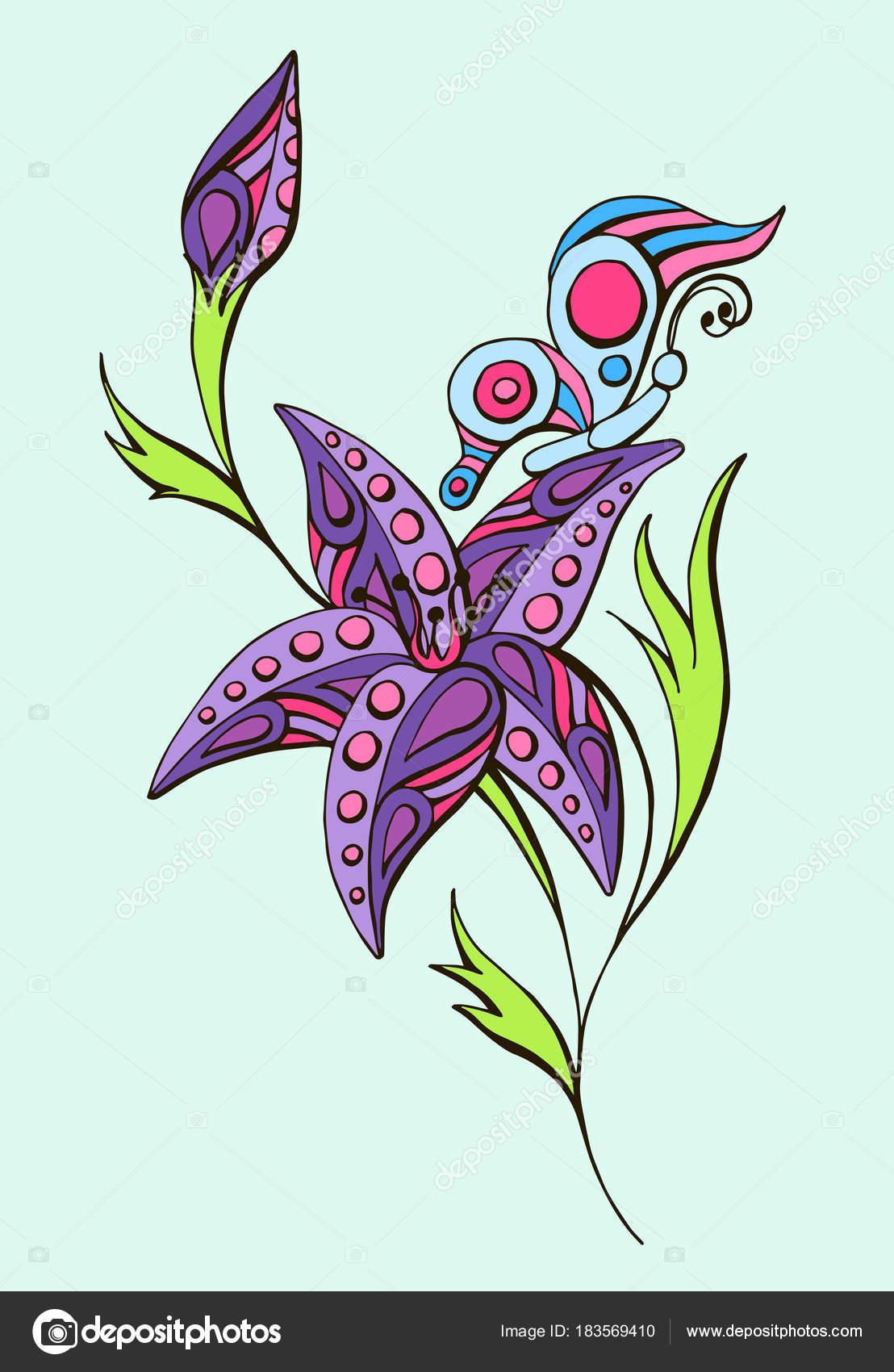 Couleur Vector Dessin Dune Fleur Et Papillons Avec Des