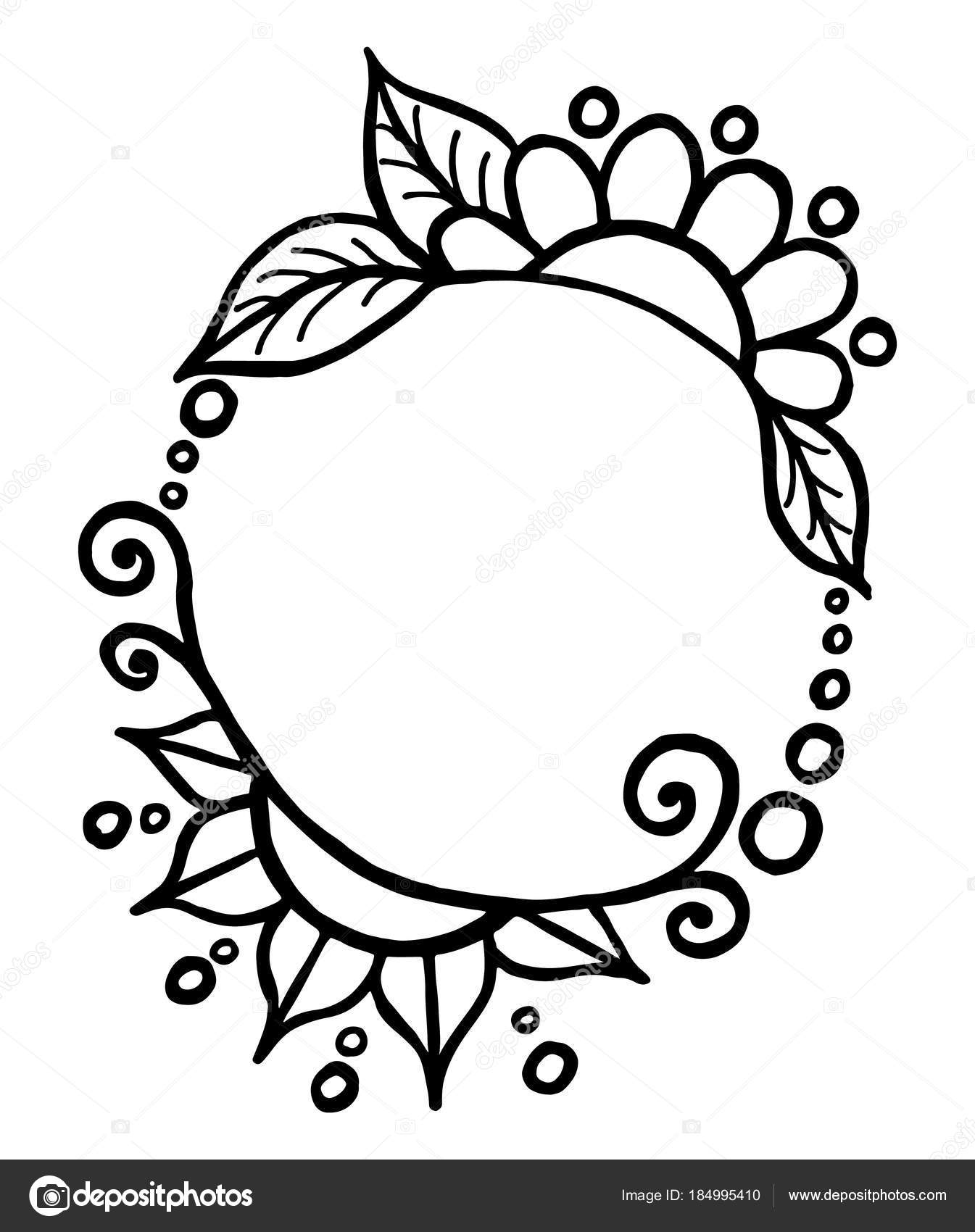 Round simple black black drawn vector frame with flowers and cur stock vector
