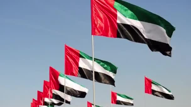 United Arab Emirates flags waving with pride on a sunny day.