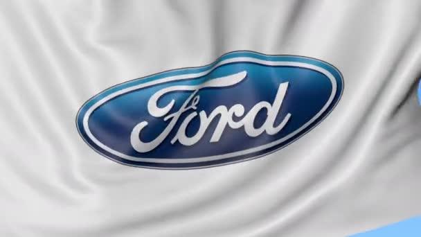 Detailní záběr mávání vlajky s logem Ford Motor Company, bezešvé smyčka, modré pozadí. Redakční animace. 4 k Prores, alfa
