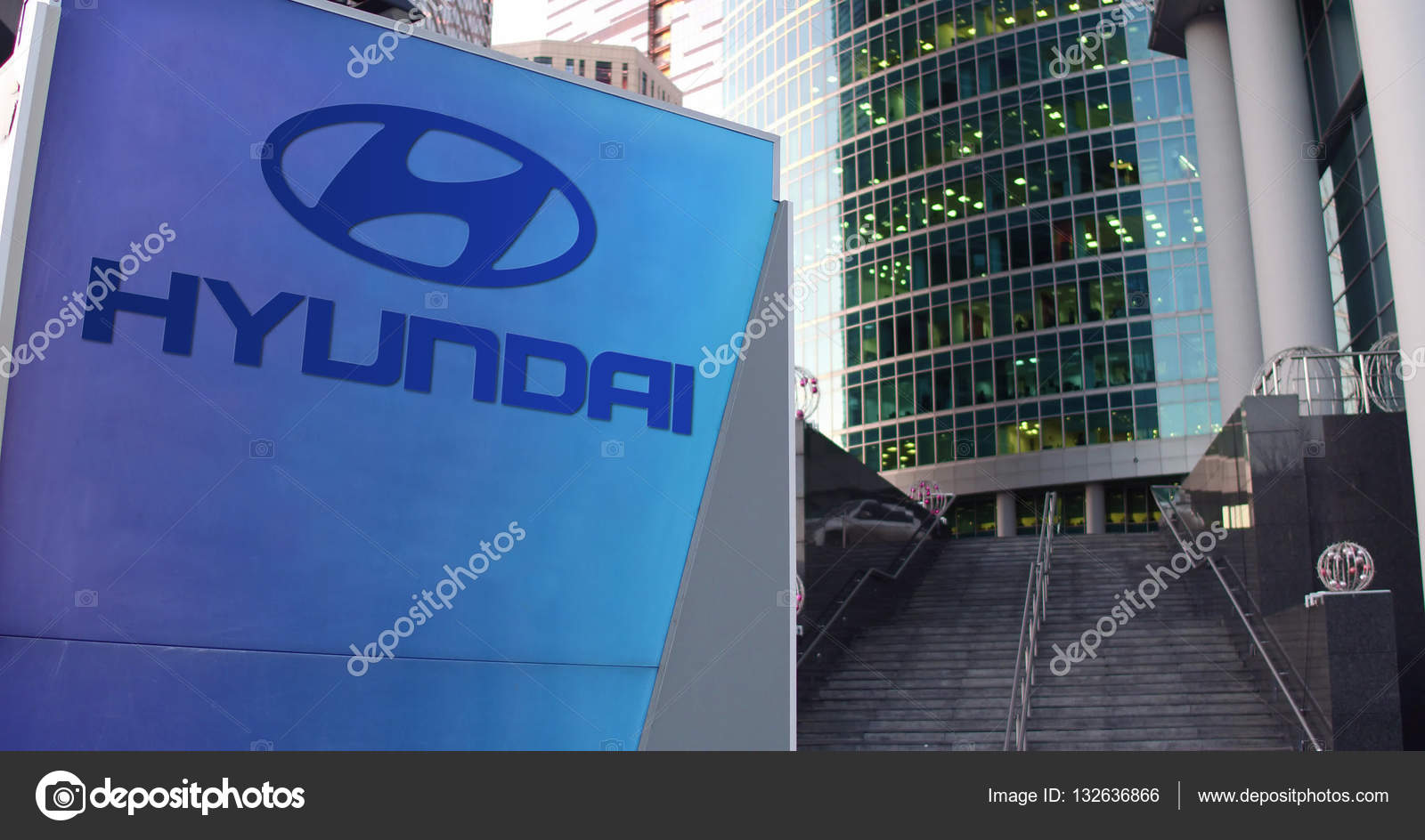 Hyundai motor company united states - Street Signage Board With Hyundai Motor Company Logo Modern Office Center Skyscraper And Stairs Background Editorial 3d Rendering United States Photo By