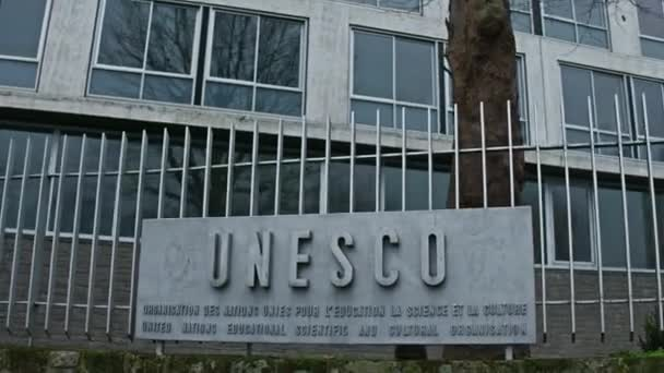 PARIS, FRANCE - DECEMBER, 31  Steadicam shot of UNESCO sign board and  headquarters  4K video