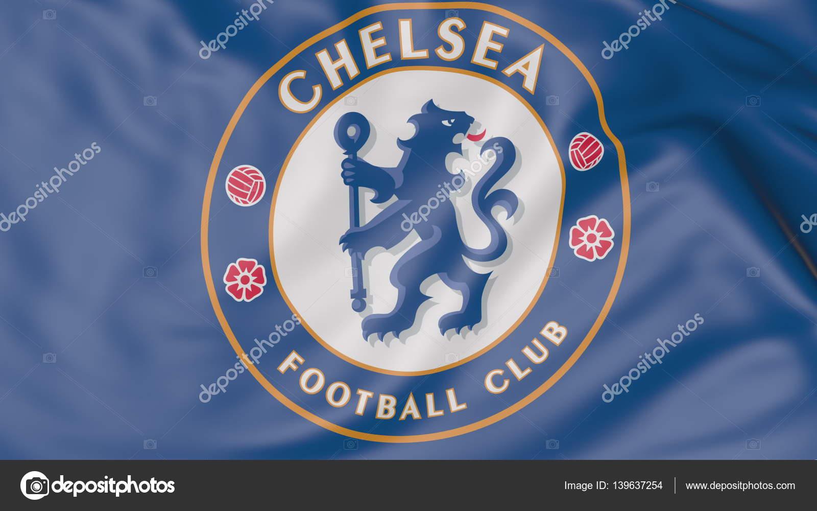 3e624770b958e Close-up da bandeira com Chelsea F.C. Futebol Clube emblema Federação Russa  — Foto de ...