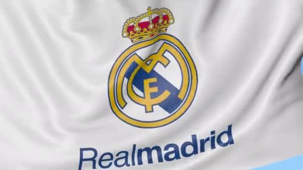 c8ffb4e47ec Close-up of waving flag with Real Madrid C.F. football club logo ...