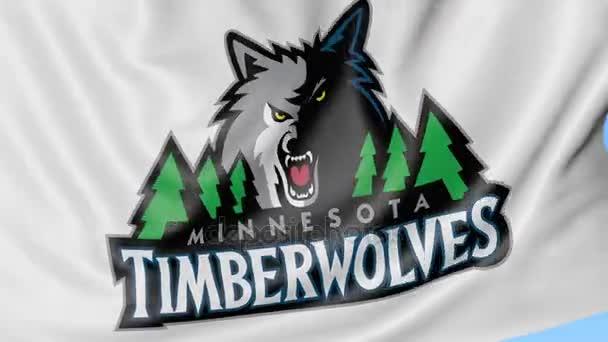 Close Up Of Waving Flag With Minnesota Timberwolves Nba Basketball
