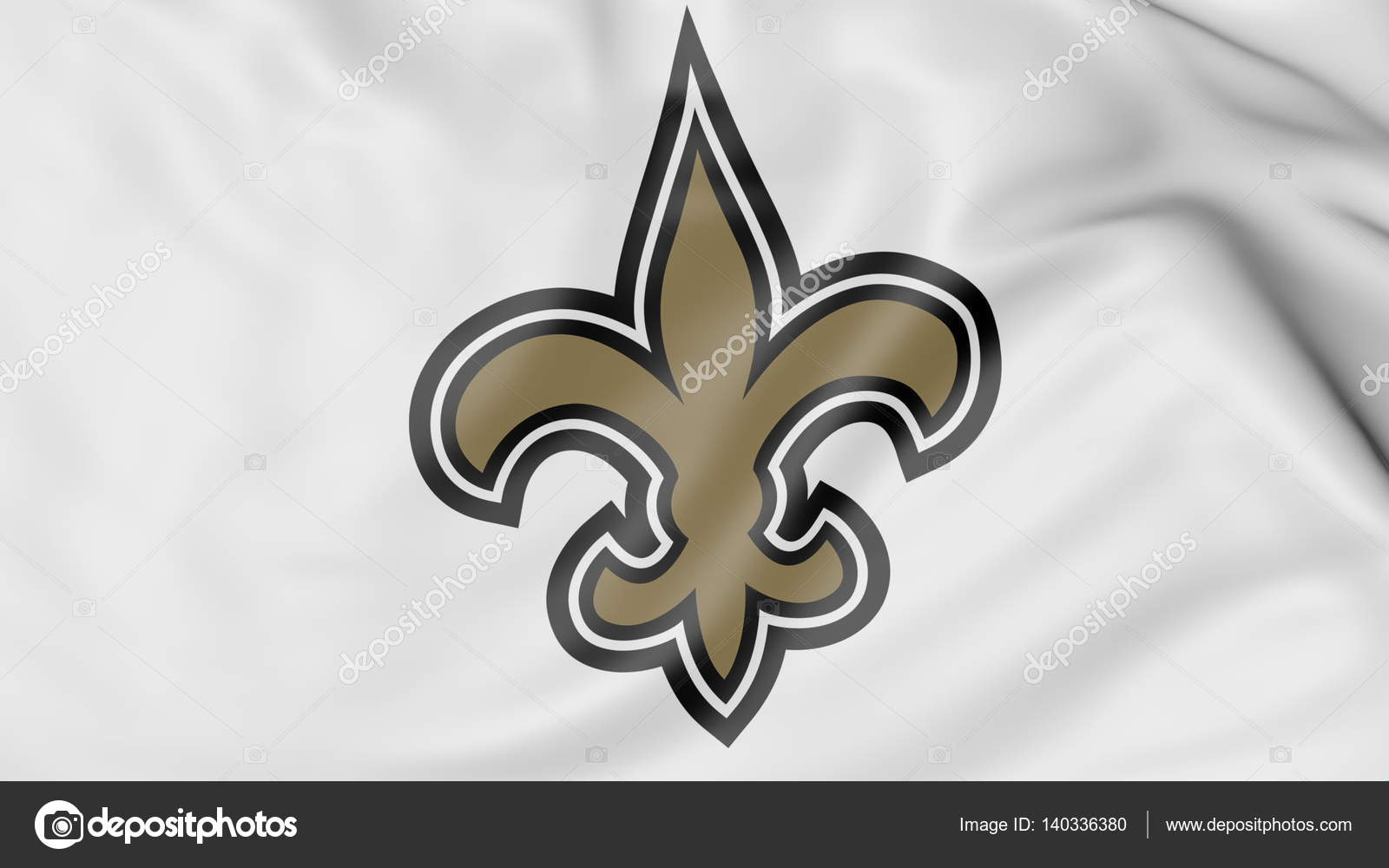 Close Up Of Waving Flag With New Orleans Saints Nfl American