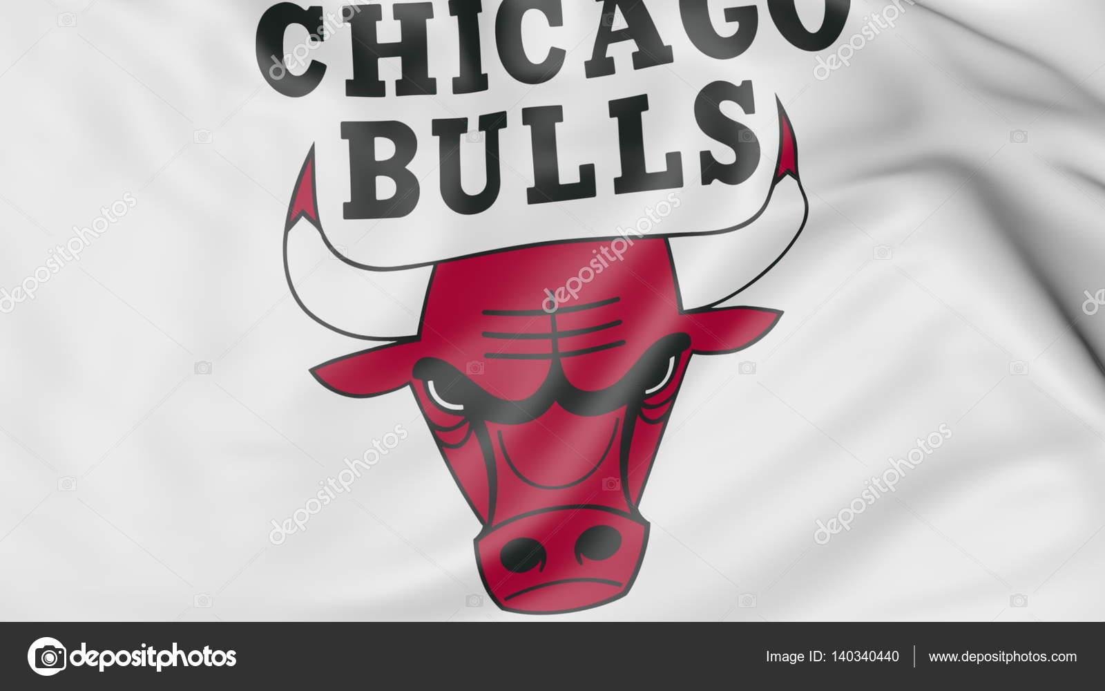 Close-up of waving flag with Chicago Bulls NBA basketball team logo ... 737123f6d1b