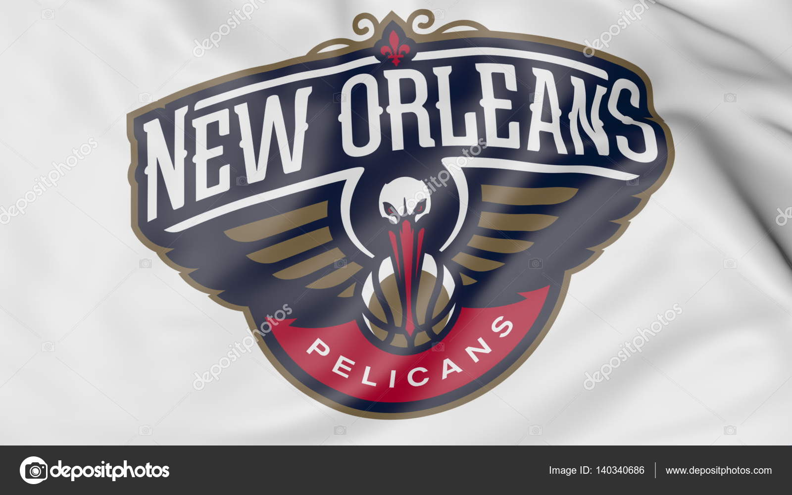 Close Up Of Waving Flag With New Orleans Pelicans Nba