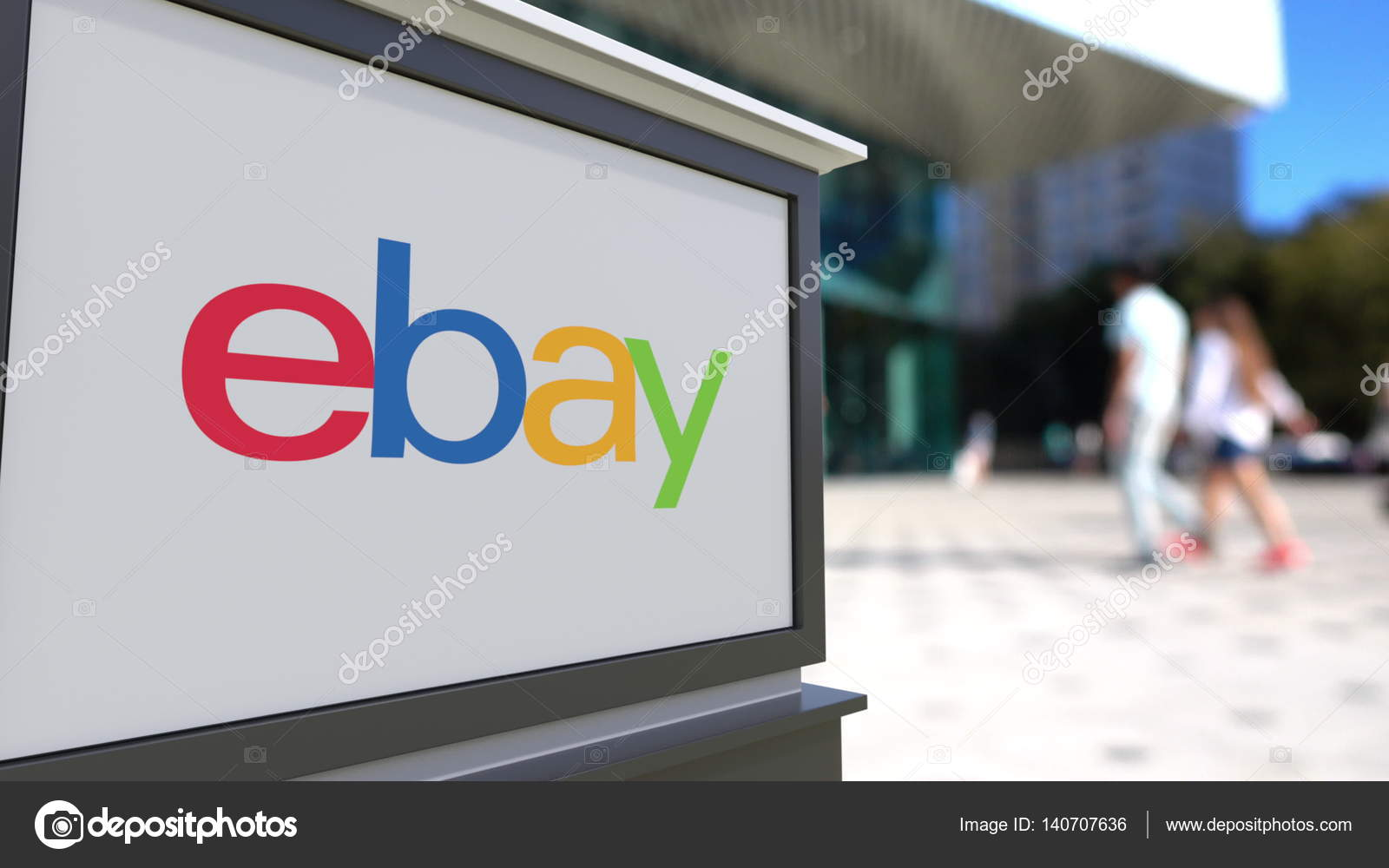 Ebay Office To Straat Signalisatie Bord Met Ebay Inclogo Wazig Office Center En Wandelende Mensen