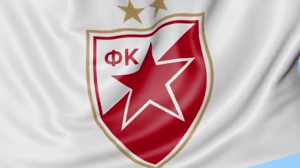 Close Up Of Waving Flag With Crvena Zvezda Football Club Logo Seamless Loop Blue Background Editorial Animation 4k