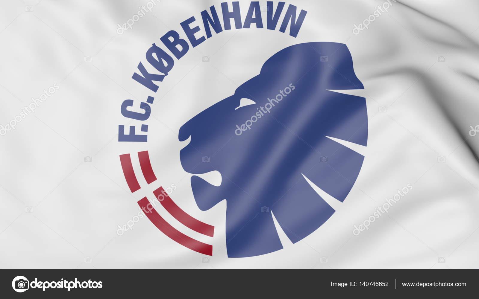 a6420e6e4ff Close-up of waving flag with FC Copenhagen football club logo