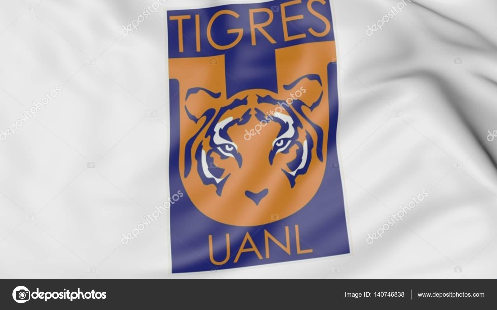 Primer Plano De La Bandera Con El Logo De Club De Fútbol Tigres Uanl