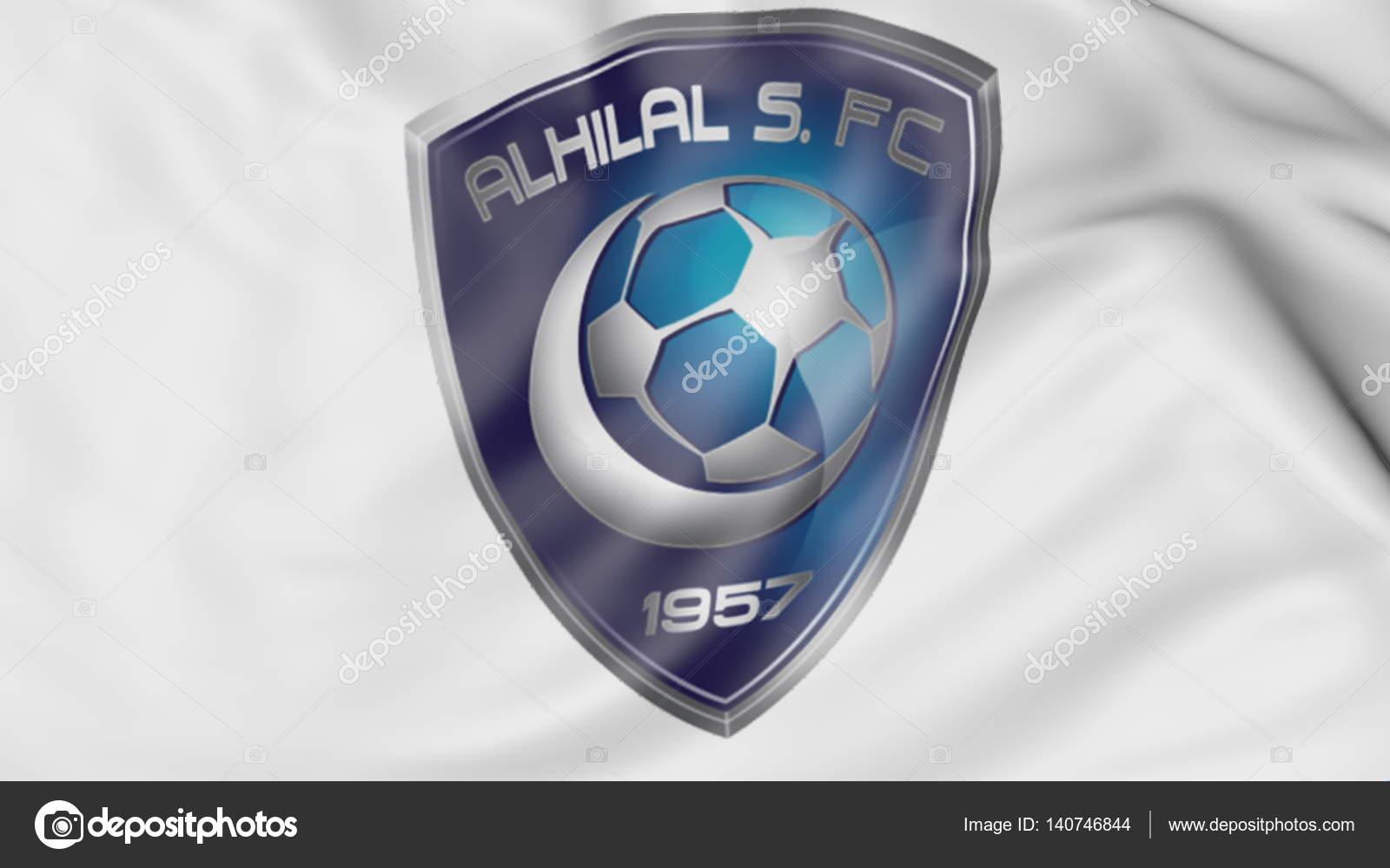 894dca0ca8d Close-up of waving flag with Al Hilal FC football club logo
