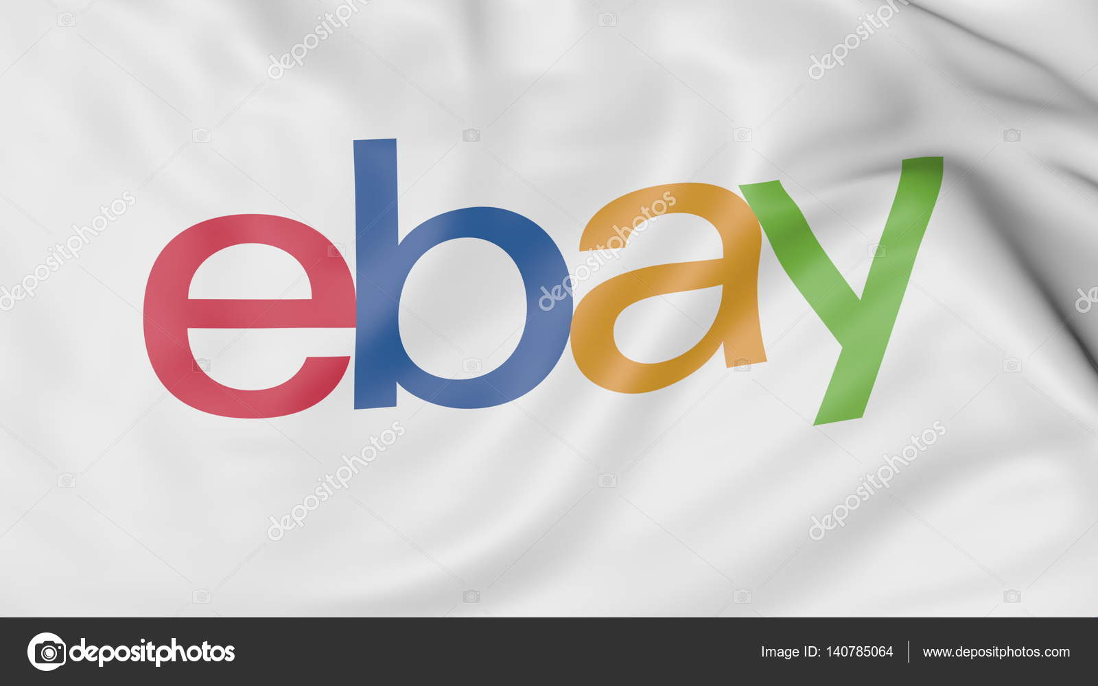 Close Up Of Waving Flag With Ebay Inc Logo Editorial 3d Rendering