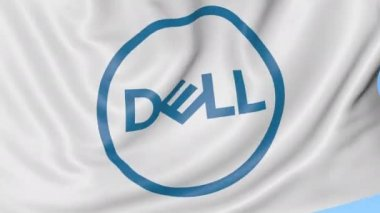 Close-up of waving flag with Dell Inc. logo, seamless loop, blue background, editorial animation. 4K ProRes